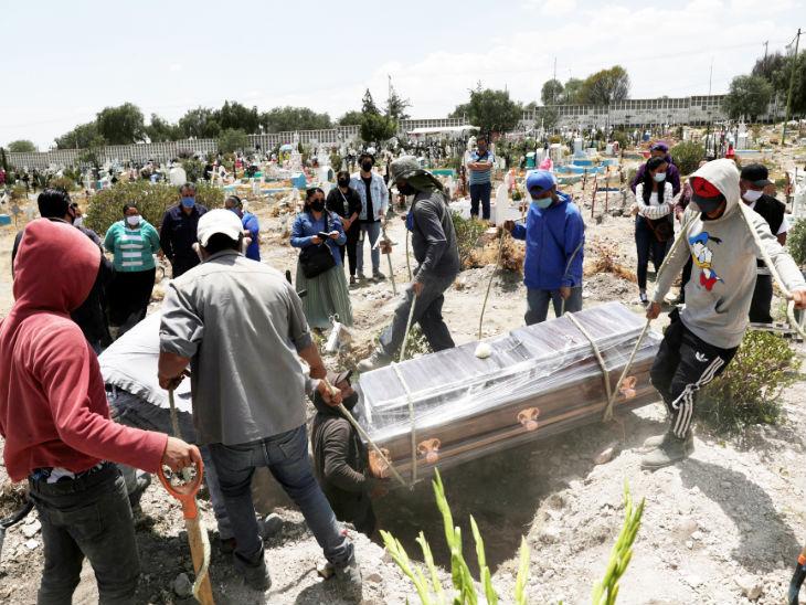 मैक्सिको सिटी के सैन इसिड्रो म्युनिसिपल कब्रिस्तान में कोरोना से जान गंवाने वाली एक महिला के शव को दफन करते परिजन