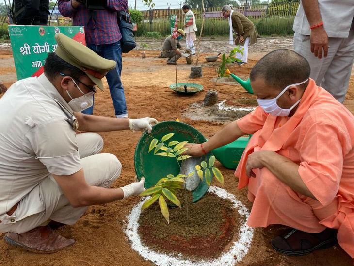 श्रीराम जन्मभूमि परिसर में पौधारोपण करते सीएम योगी।