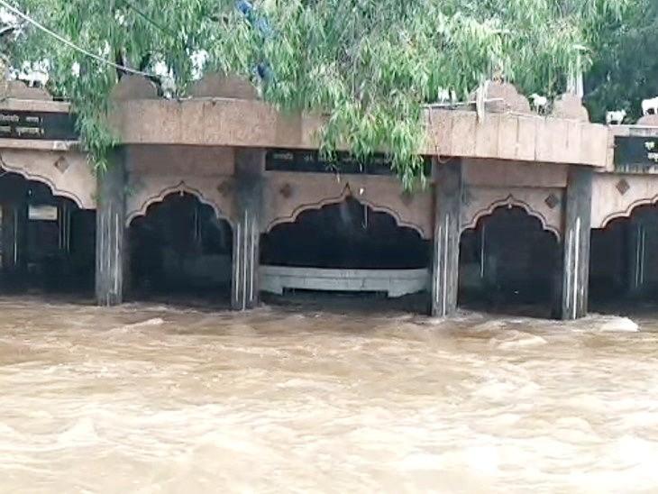 सौराष्ट्र में भारी बारिश से नदी-नाले उफान पर, पोरबंदर और द्वारकानगरी में 10 इंच तक बारिश|गुजरात,Gujarat - Dainik Bhaskar