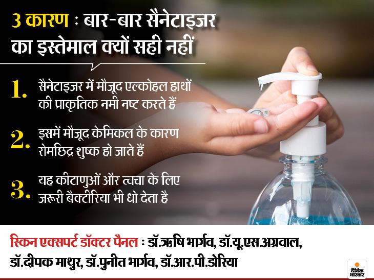 एक्सपर्ट बोले- साबुन से हाथ धोना सबसे अच्छा, बार-बार सैनेटाइजर लगाने से स्किन के जरूरी बैक्टीरिया भी मर जाते हैं|लाइफ & साइंस,Happy Life - Dainik Bhaskar