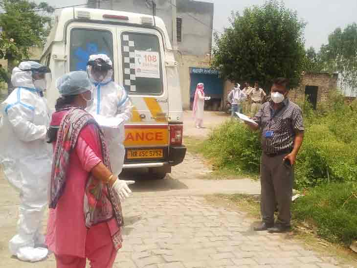 करनाल में निसिंग में कोरोना पॉजिटिव मिलने के बाद पहुंची स्वास्थ्य विभाग की टीम। - Dainik Bhaskar