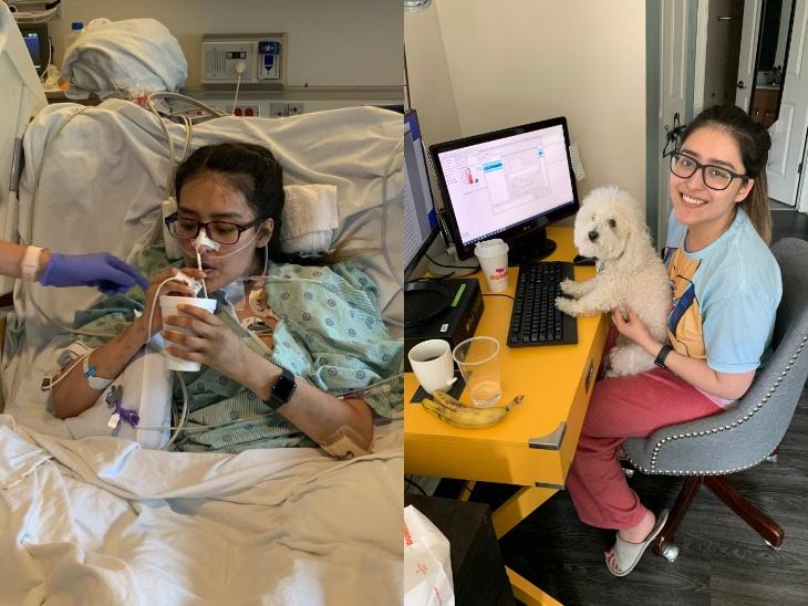 मायरा को सर्जरी के कई दिनों बाद तक भी यह नहीं बताया गया था कि उनका डबल लंग ट्रांसप्लांट किया गया है। दूसरी तस्वीर में बीमार होने से पहले अपने घर में काम करतीं मायरा। फोटो 10 अप्रैल की है।