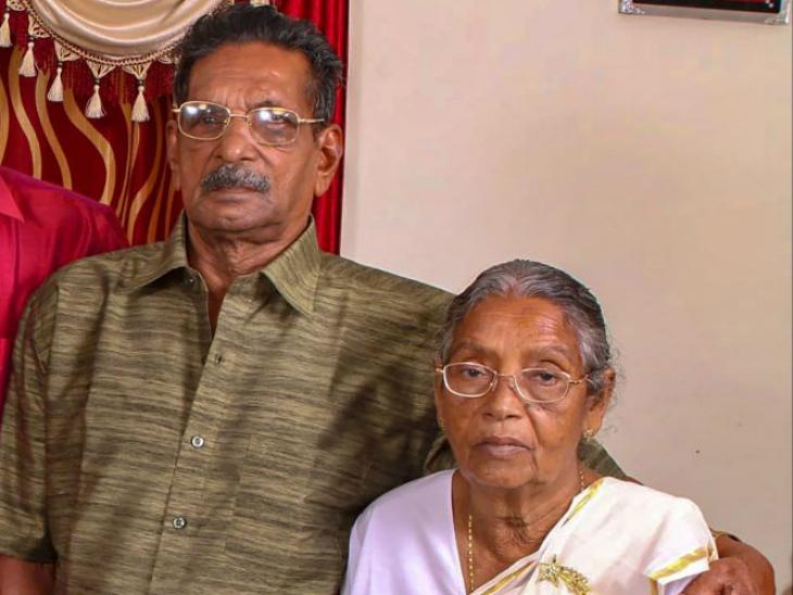 93 साल के थॉमस अब्राहम अपनी 88 वर्षीय पत्नी मरियम्मा के साथ।