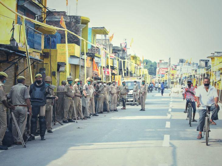 अयोध्या शहर में तैनात पुलिस फोर्स।