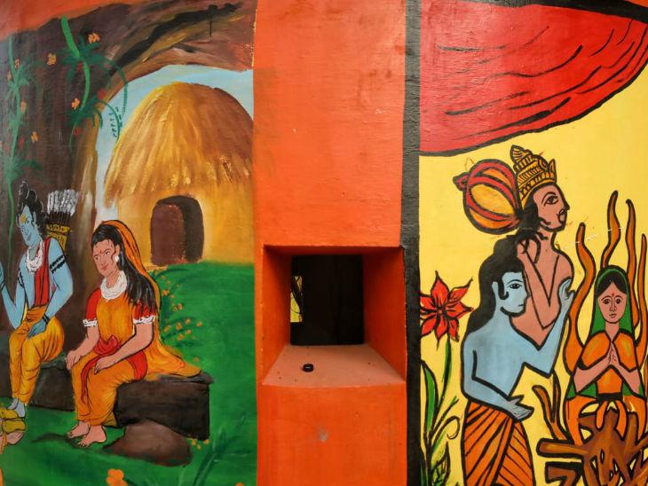 आज अयोध्या में भूमिपूजन का कार्यक्रम है। यहां की दीवारों पर सुंदर कलाकृतियां बनाईं गईं हैं।