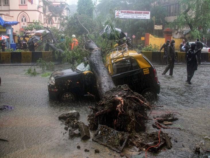 बुधवार को मुंबई में जारी भारी बारिश के बीच एक पेड़ टेक्सी के ऊपर गिर पड़ा। दमकल विभाग के कर्मचारी इस पेड़ को हटाने का प्रयास करते हुए।