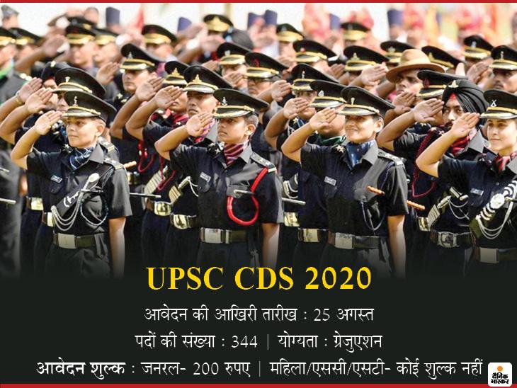 यूनियन पब्लिक सर्विस कमीशन ने कंबाइंड डिफेंस सर्विस परीक्षा के लिए जारी किया नोटिफिकेशन, 344 पदों पर होनी है भर्ती करिअर,Career - Dainik Bhaskar