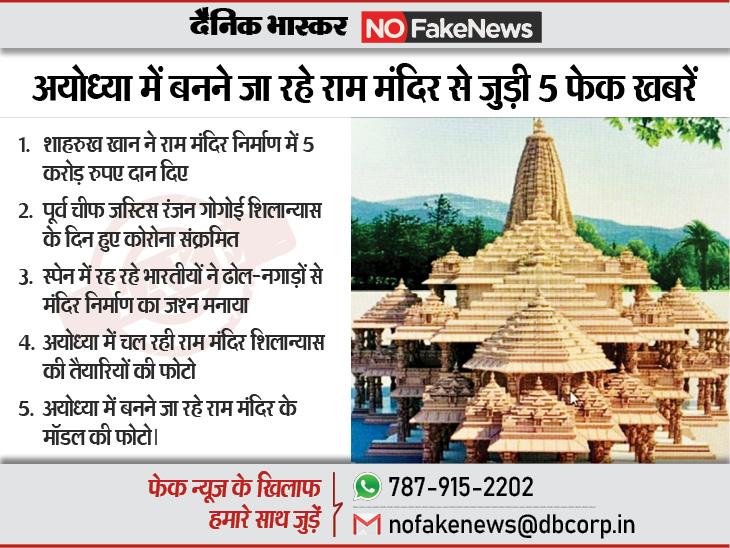 न राम जन्मभूमि पर फैसला सुनाने वाले जज को कोरोना हुआ, न ही शाहरुख खान ने मंदिर निर्माण के लिए 5 करोड़ दिए फेक न्यूज़ एक्सपोज़,Fake News Expose - Dainik Bhaskar