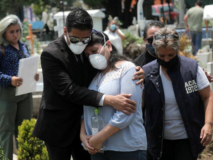 मैक्सिको की राजधानी मैक्सिको सिटी के एक कब्रिस्तान में एक दूसरे को संभालने की कोशिश करता एक मृतक का परिवार।
