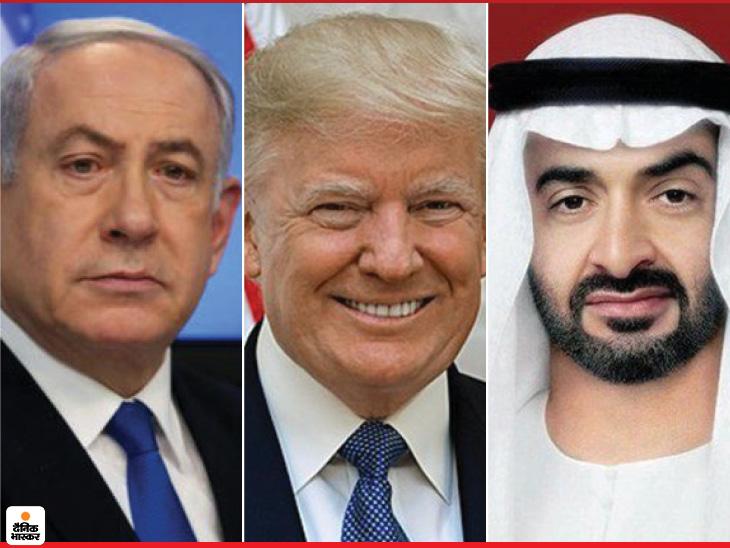 इजराइल और यूएई के बीच हुए ऐतिहासिक शांति समझौते के तीन किरदार। इजराइल के प्रधानमंत्री बेंजामिन नेतन्याहू (बाएं), यूएई के प्रिंस मोहम्मद शेख जायेद (दाएं ) और बीच में अमेरिकी राष्ट्रपति डोनाल्ड ट्रम्प। (फाइल)