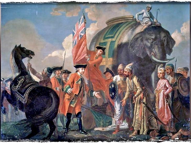 1757 में प्लासी के युद्ध के बाद रॉबर्ट क्लाइव और मीर जाफर। मीर जाफर की गद्दारी की वजह सेे बंगाल के नवाब सिराजुद्दौला की हार हुई थी और ईस्ट इंडिया कंपनी को भारत में पहली बड़ी जीत मिली थी। इस पेंटिंग को फ्रांसिस हेमैन ने बनाया है।