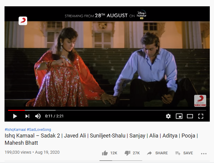 Ishq Kamal song got double dislikes.