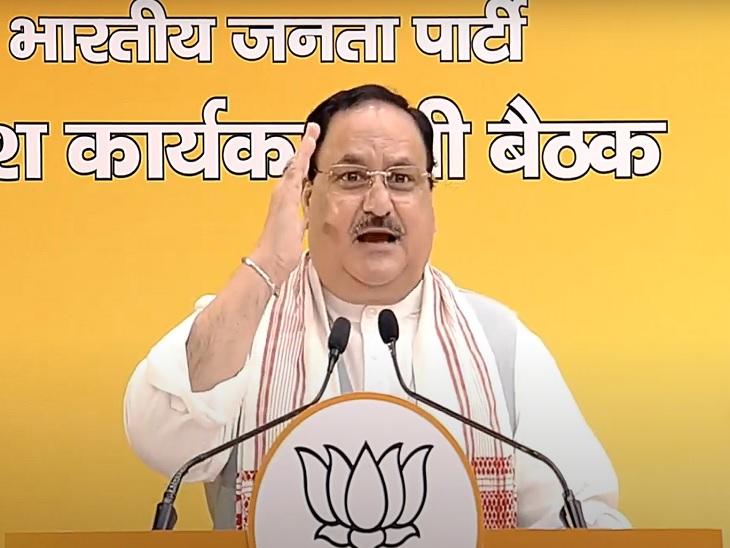 भाजपा कार्यसमिति की बैठक के दूसरे दिन जेपी नड्डा ने वीडियो कॉन्फ्रेंसिंग के जरिए बिहार के कार्यकर्ताओं को संबोधित किया। - Dainik Bhaskar