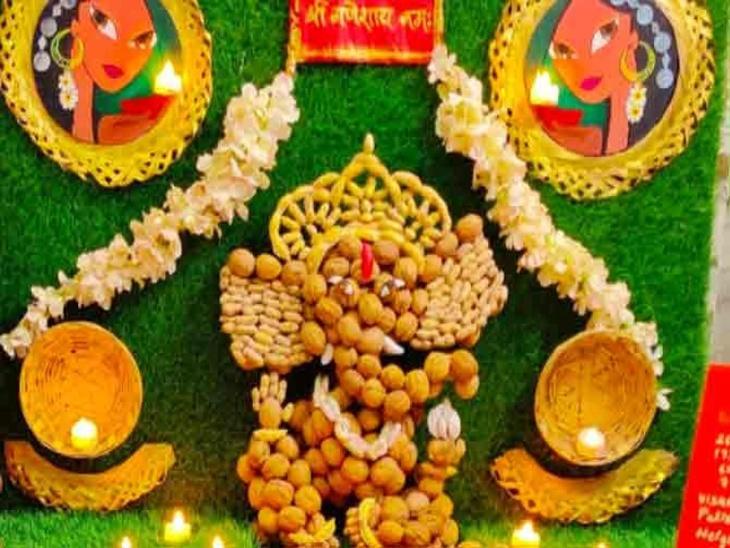 अदिति द्वारा बनाई गई श्री गणेश की प्रतिमा।