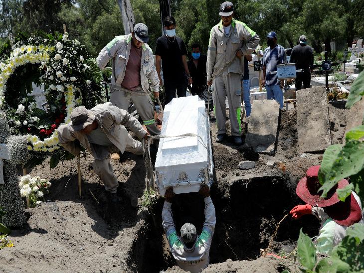 मैक्सिको की राजधानी न्यू मैक्सिको सिटी में ताबूत में रखे शव को दफनाने की कोशिशों में जुटे कब्रिस्तान के कर्मचारी।