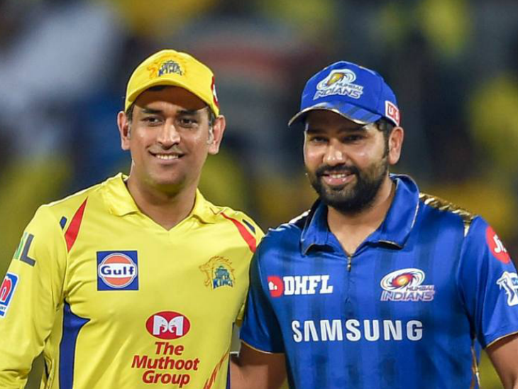 आईपीएल का पहला मैच रोहित शर्मा(दाएं) की कप्तानी वाली मुंबई इंडियंस और महेंद्र सिंह धोनी की अगुआई वाली चेन्नई सुपरकिंग्स के बीच होगा। -फाइल - Dainik Bhaskar