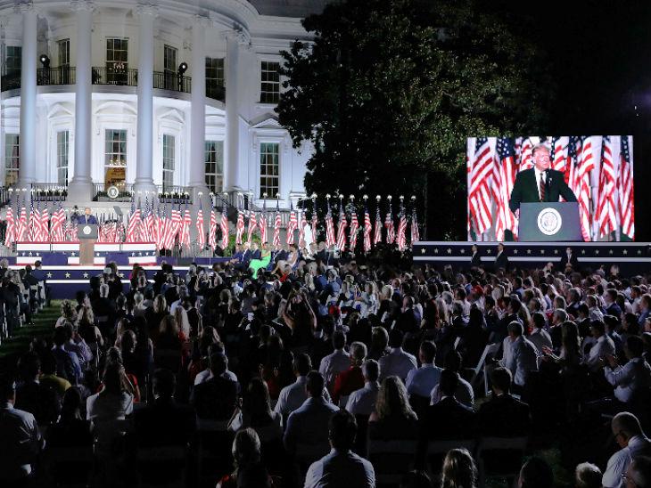 व्हाइट हाउस में ट्रम्प की स्पीच के दौरान हजारों लोग भी मौजूद रहे।
