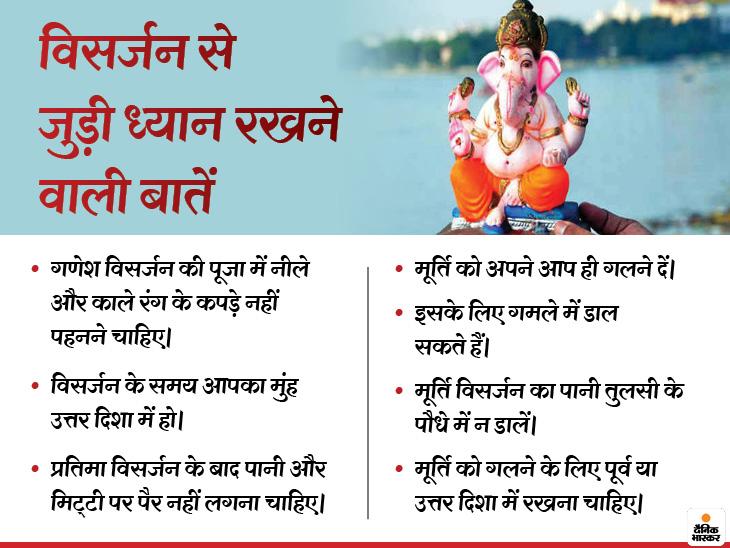 विसर्जन से पहले उत्तर पूजा की जाती है और गणेशजी का विशेष श्रृंगार किया जाता है। जो भगवान गणपति के साथ ही पानी में विसर्जित किया जाता है।