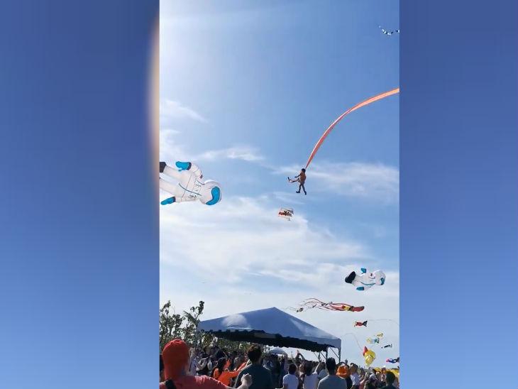 पतंग महोत्सव के दौरान हवा की रफ्तार करीब 50 से 60 किलोमीटर प्रति घंटा थी।