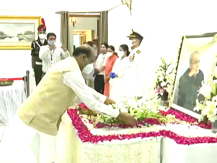 Lok Sabha Speaker Om Birla also arrived to pay homage to Pranab.