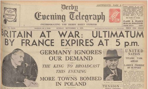 3 सितंबर को जर्मनी के खिलाफ युद्ध की घोषणा पर Evening Telegraph की हेडलाइन