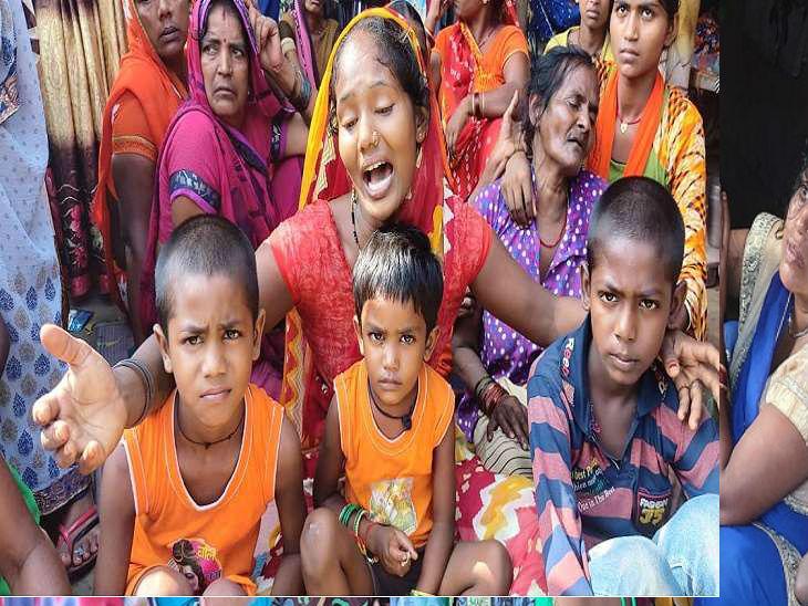 बस्ती में तीन मजदूरों की मौत हो गई। हादसे के बाद बिलखते परिजन।