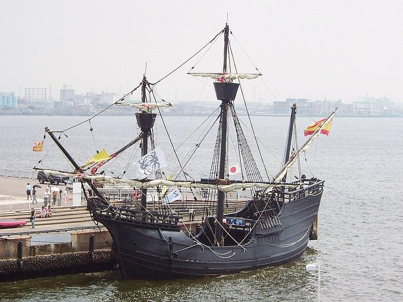 विक्टोरिया जहाज का रेप्लिका। यह तस्वीर नागोया, जापान में ली गई है।