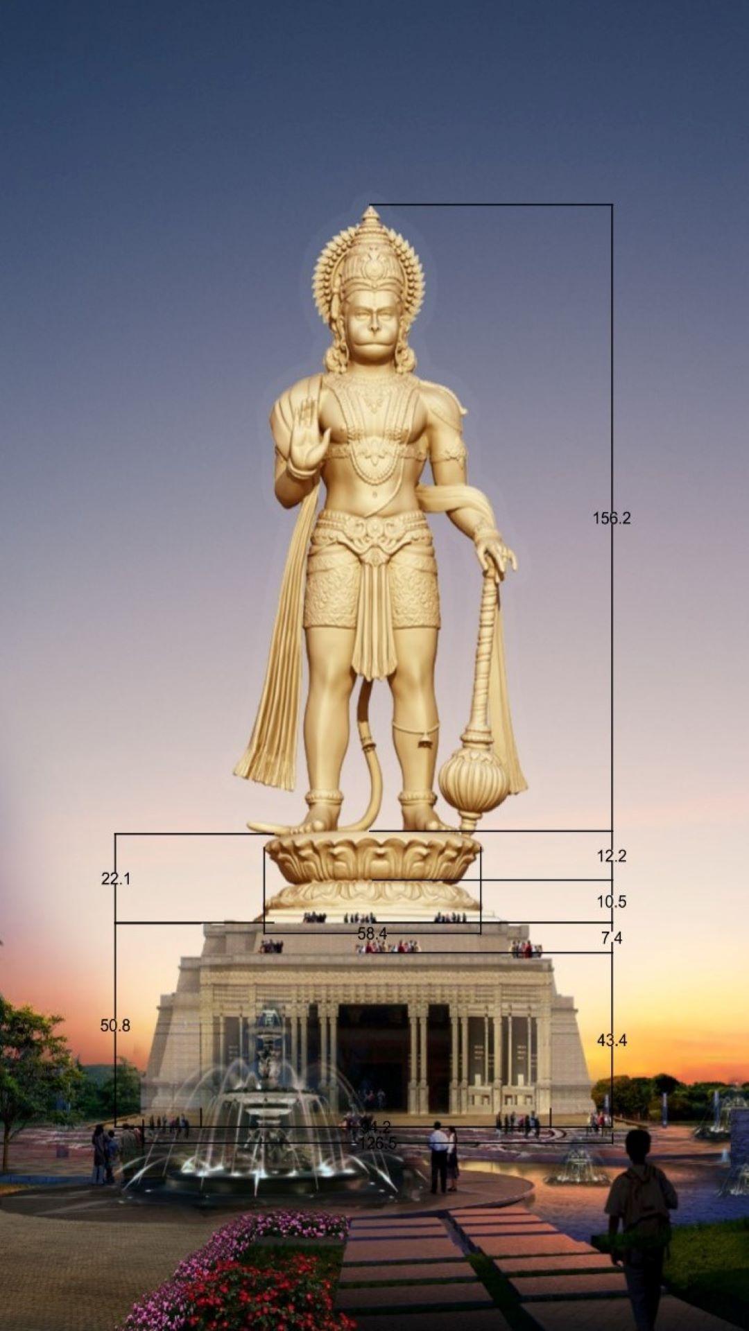 मंदिर के बाहर लगने वाली हनुमान प्रतिमा की डिजाइन। ये प्रतिमा कई किमी दूर से दिखाई देगी। (डिजाइन में दी गई ऊंचाई फीट में है।)