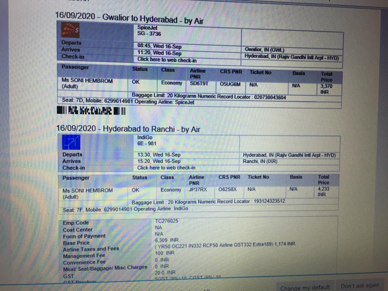 सोनी हम्बर का हवाई टिकट।