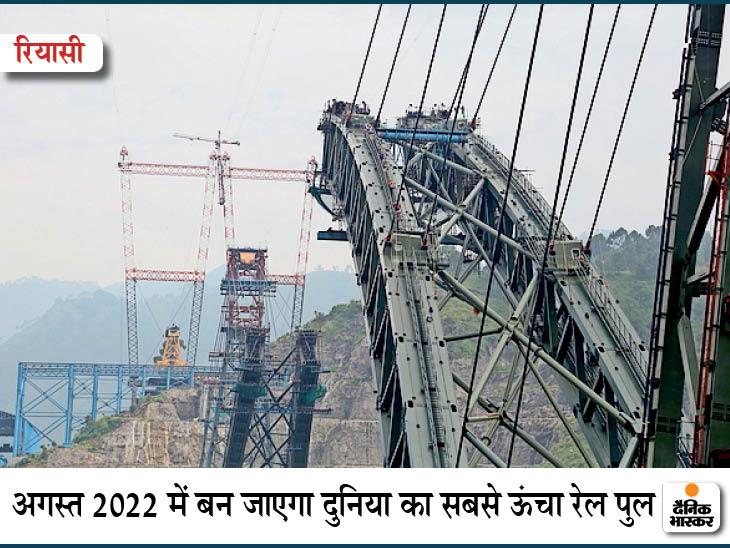 If the network is not found in Jharkhand, then the 10 feet high scaffolding for online class will be ready by August 2022, the world's highest railway bridge over the Chenab River. | झारखंड में नेटवर्क नहीं मिला तो ऑनलाइन कक्षा के लिए बनाई 10 फीट ऊंची मचान, चिनाब नदी पर दुनिया का सबसे ऊंचा रेलवे पुल अगस्त 2022 तक बनकर तैयार होगा