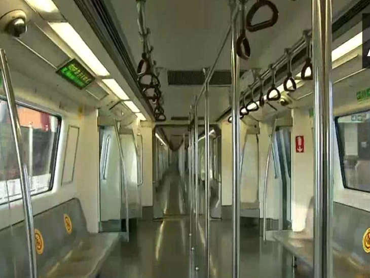 Most of the metro coaches in Delhi looked empty.