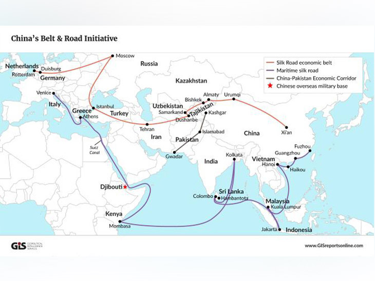 चीन के बेल्ट एंड रोड इनिशिएटिव पर 1 ट्रिलियन डॉलर यानी करीब 75 लाख करोड़ रुपए खर्च होने का अनुमान है। (फोटो क्रेडिट- GISreportsonline.com)