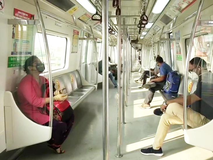 यह फोटो इंद्रलोक मेट्रो स्टेशन का है। गुरुवार सुबह ग्रीन लाइन पर मेट्रो दौड़ी। हालांकि, सुबह लोगों की तादाद काफी कम थी।