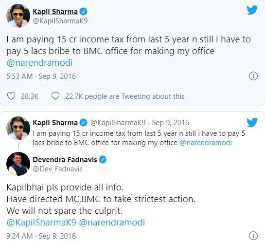 कपिल ने बीएमसी अधिकारियों द्वारा रिश्वत मांगने की शिकायत नरेंद्र मोदी से की थी।