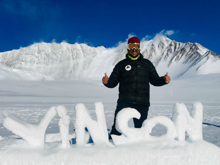 In 2019, he climbed Mountain Vinson in Antarctica. Vinson's height is about 5000 meters.