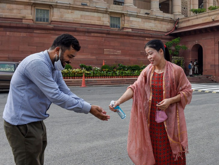 On the first day of the session, Rajya Sabha MP Mary Kom arrived with a sanitizer.