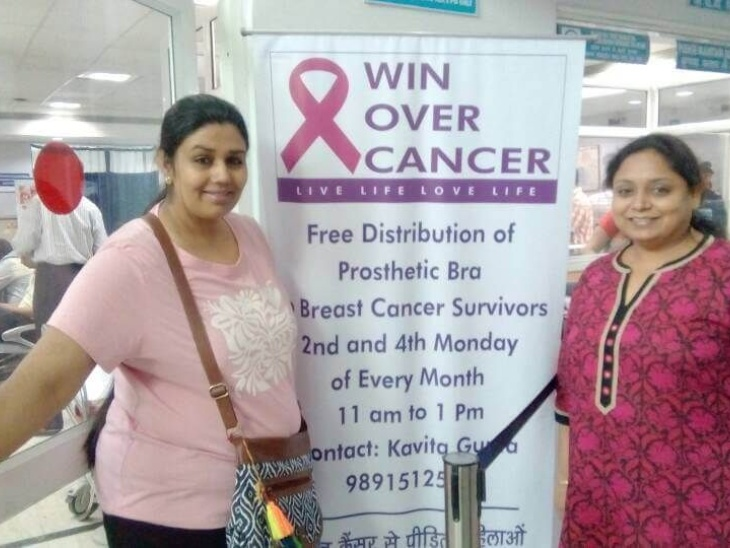 She can be seen distributing prosthetic bras to women undergoing breast cancer treatment at AIIMS Hospital, Delhi every Wednesday.