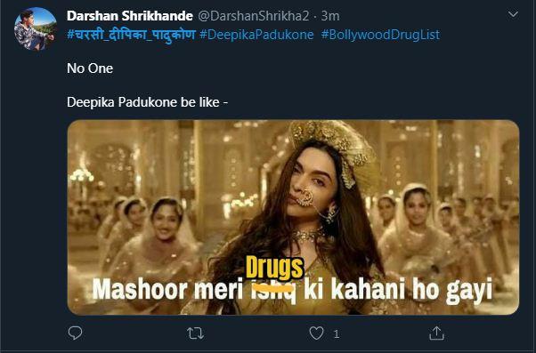 इस यूजर ने फिल्म 'बाजीराव मस्तानी' में दीपिका के गाने के बोल बदलकर लिखा, 'मशहूर मेरे ड्रग्स की कहानी हो गई'।
