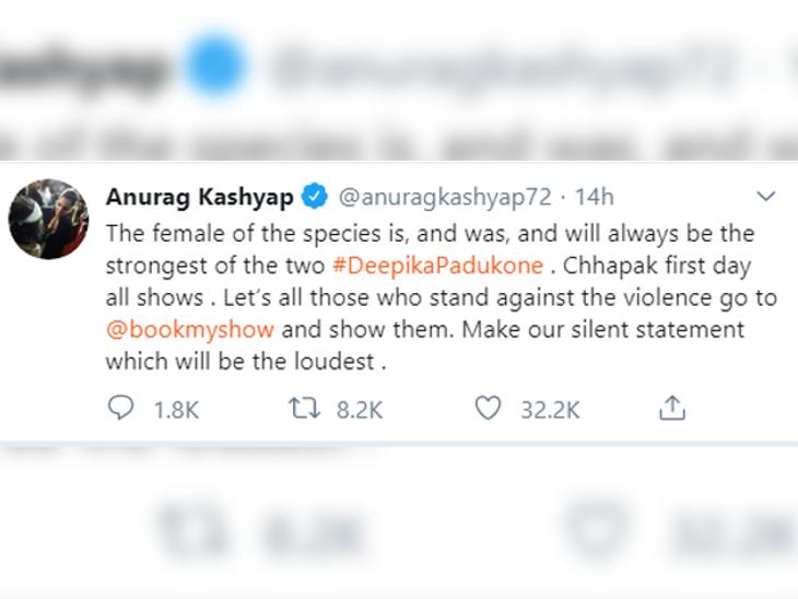 Anurag's tweet in support of Deepika.