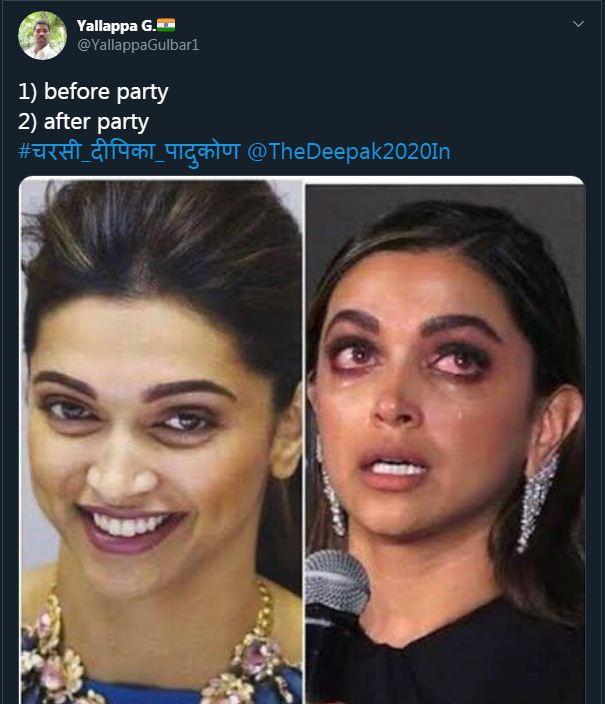 इस यूजर ने पार्टी से पहले और पार्टी के बाद दीपिका की हालत बताई।