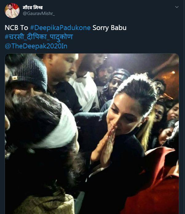 इस यूजर ने लिखा, 'एनसीबी ने दीपिका पादुकोण से कहा सॉरी बाबू'