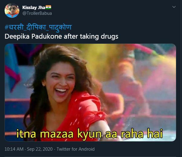फिल्म 'ये जवानी है दीवानी' के गाने से दीपिका का फोटो शेयर यूजर ने बताया- ड्रग्स लेने के बाद दीपिका का हाल।