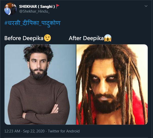 इस यूजर ने दीपिका से मिलने से पहले और मिलने के बाद रणवीर सिंह का हाल बताया।