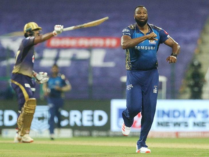 कीरोन पोलार्ड ने 7 बॉल पर 13 रन बनाए और 1 विकेट भी लिया।