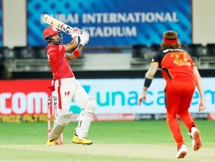 राहुल ने मैच में 7 छक्कों की मदद से 69 बॉल पर 132 रन की पारी खेली। इसकी बदौलत पंजाब ने बेंगलुरु को 97 रन से शिकस्त दी।
