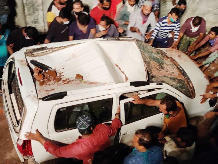 बिल्डिंग के नीचे पर्किंग में खड़े कुछ वाहनों को भी नुकसान पहुंचा है।