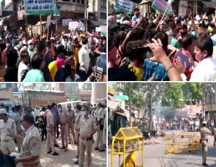 सभी फोटो हाथरस की हैं। पीड़ित परिवार के समुदाय के लोग हाथरस की सड़कों पर प्रदर्शन कर रहे हैं, पुलिस और प्रशासन के खिलाफ नारेबाजी कर रहे हैं।
