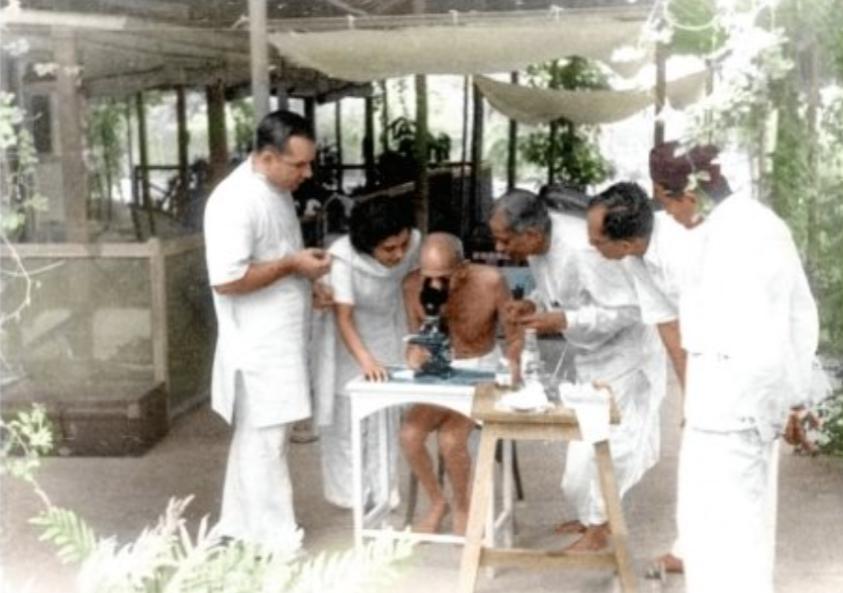 माइक्रोस्कोप से हुकवर्म को देखते गांधी जी। यह तस्वीर मई, 1944 की है, जिसे बॉम्बे के जुहू बीच के पास कैप्चर किया गया था।