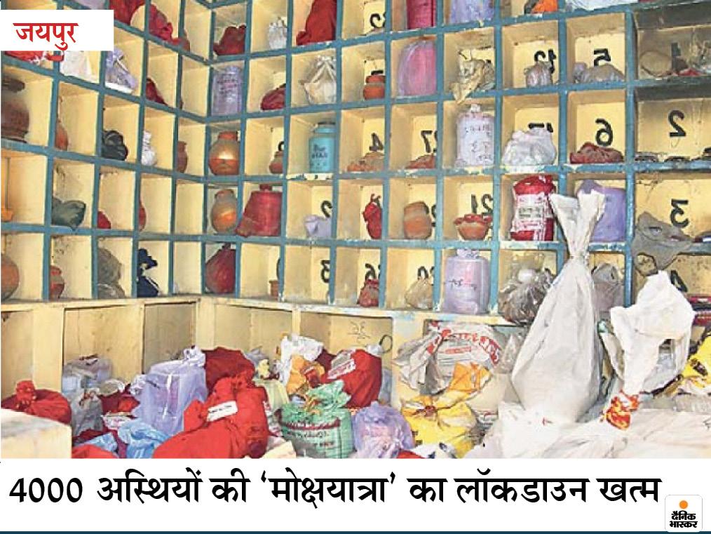तस्वीर जयपुर के आदर्श नगर श्मशान घाट की है। कभी यहां 10 से अधिक मृतकों की अस्थियां भी नहीं रखी जाती थीं, लेकिन कोरोना में संख्या 300 तक हैं। अलमारियों के बाद जमीन पर अस्थियों के ढेर लग गए। उत्तराखंड सरकार की तरफ से हरिद्वार जाने के लिए बसों की छूट देने के बाद अस्थियों को विसर्जित किया गया।