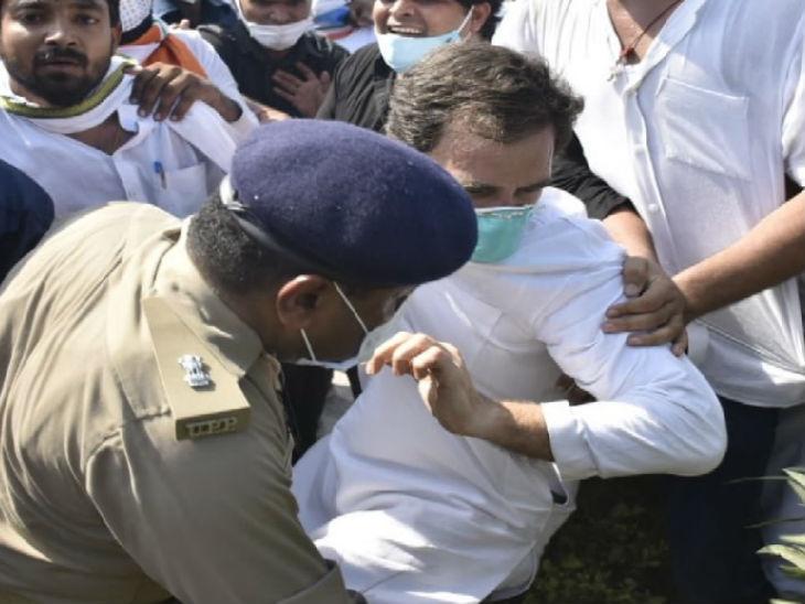 धक्का-मुक्की के दौरान गिरने से राहुल के हाथ में चोट लग गई थी।